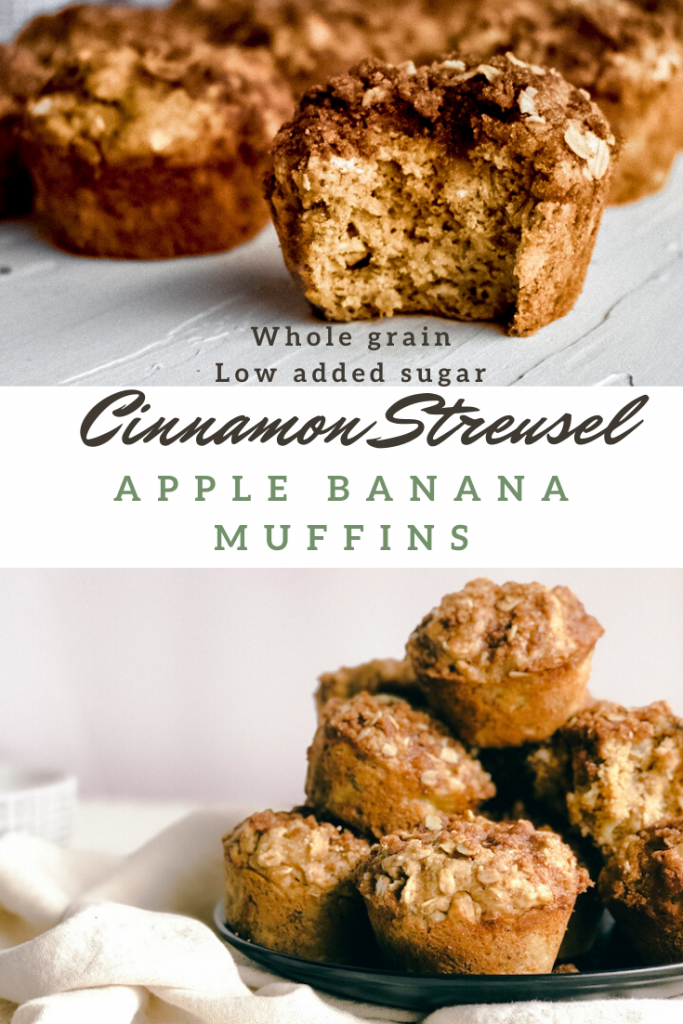 Cinnamon Streusel Apple banana muffins | Simply Nourished Home