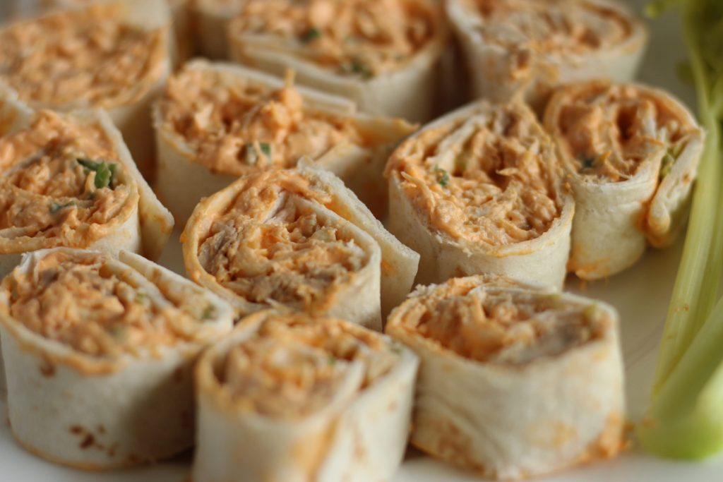Buffalo Chicken Pinwheels up Close| Simply Nourished Home