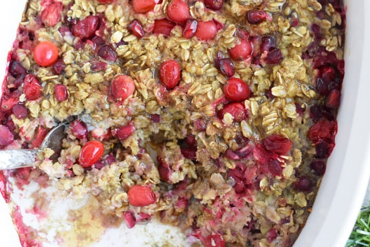 Nutritious Make Ahead Breakfasts for Christmas Morning Round Up  Cranberry Pomegranate Baked Oatmeal| SImply Nourished Home