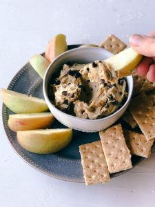 Cookie Dough Hummus Dip with fruit and graham crackers | Simply Nourished Home
