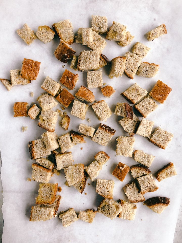 Homemade Whole Wheat Croutons Step 2 | SImply Nourished Home