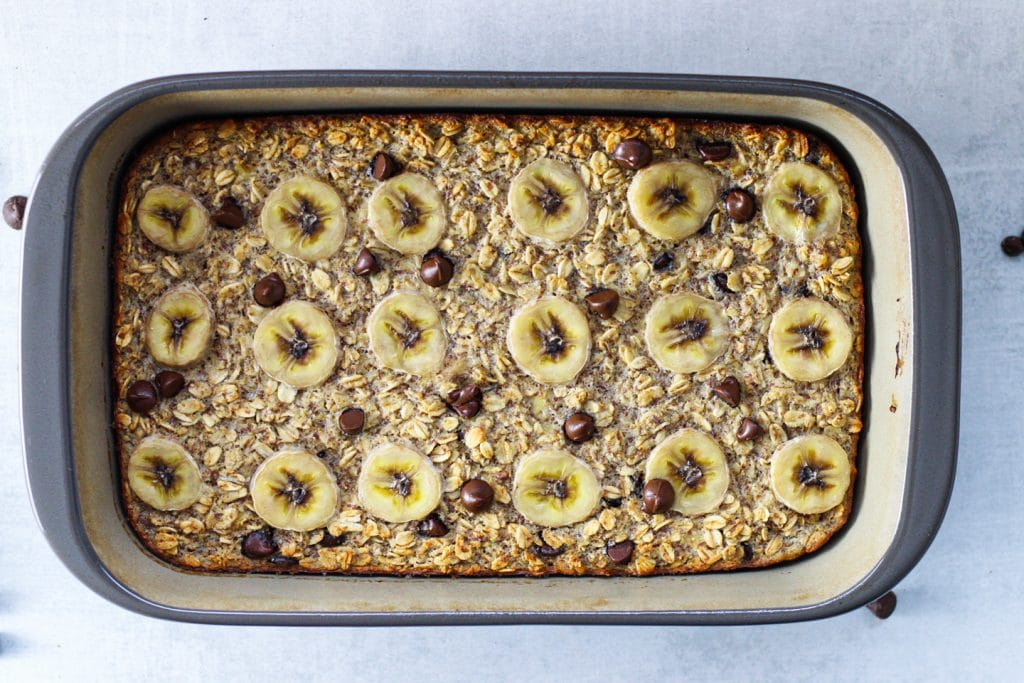 Chocolate Chip Banana Baked Oatmeal | Simply Nourished Home