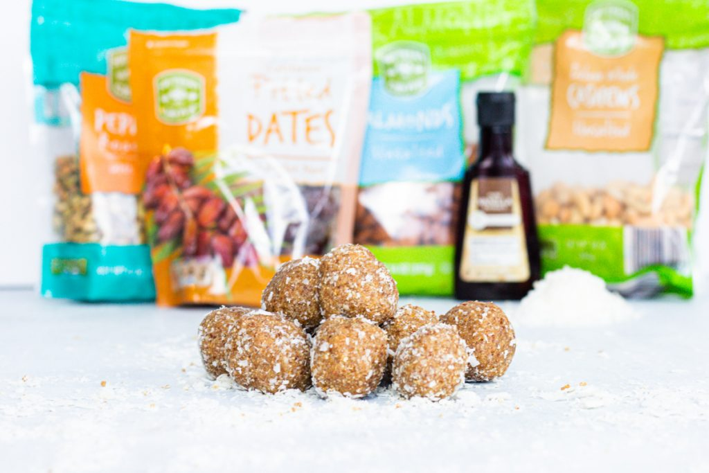 Coconut date balls in the front, ingredients lined up along the back.