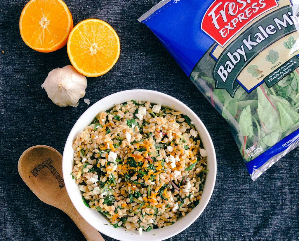 Garlic and Kale Farro Salad | Simply Nourished Home