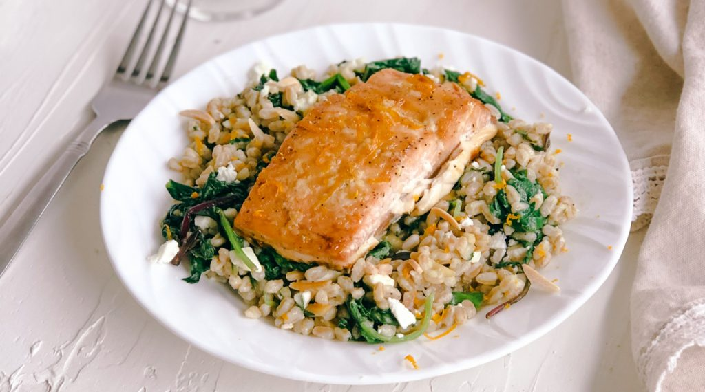 Orange Maple Glazed Salmon with Garlic and Kale Farro Salad | Simply Nourished Home