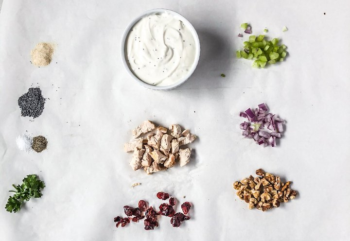 Walnut and Cranberry Chicken Salad Ingredients| Simply Nourished Home
