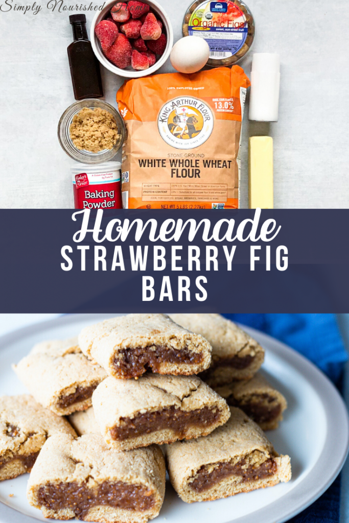 Ingredients for strawberry fig bars recipe on top and plate of cookies on the bottom. Homemade Strawberry Fig Bars | Simply Nourished Home