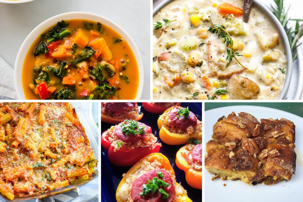 Healthy Vegetarian Freezer Meal Collage